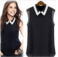 New 2014 shirt women brand summer chiffon blouse turn-down collar  fashion sleeveless plus size chiffon shirt tops T001