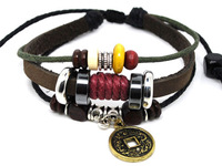 Free Shipping Retail China Coin Leather Weaving Bracelets For Women & Men Charms