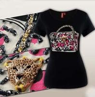 2013 New Summer Tops Tees Sexy Pink Leopard Handbag Chain Beading Sequined T-shirts Women Short-sleeve Fashion Shirt Women