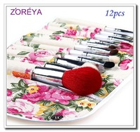 High quality New Original ZOREYA 12 pcs fashion makeup brush set brush printed bag powder paint and paint for Women Dropshipping