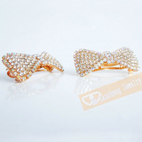 Grand Sparkly Clear White Crystal Bow Bridal Wedding Gold Plated Metal PAIR Hair Clip Free Ship