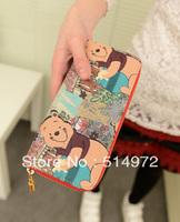 Best Selling!!wholesale and retail little bear print women purse ladies cartoon wallet female clutch wallet Free Shipping