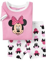 2013 New! kid mickey mouse clothing,girls minnie fashion short sleeves pyjamas Free shipping 6 sets/lot ( 6 sizes)