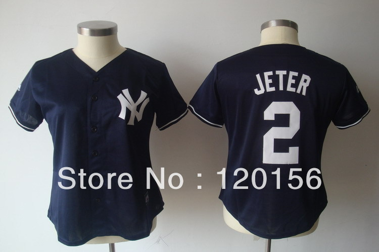 Wholesale Womens New-York 2 Derek Jeter Dark Blue Ladies Baseball Jerseys S-XXL(China (Mainland))
