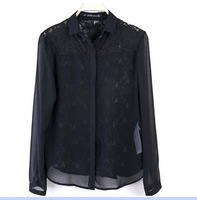 5pcs / lot  wholesale 2013 new Women Korean perspective lace shirt long-sleeved chiffon shirt blouse