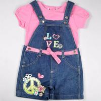 Free shipping hiqh quality 2013 new 4 sets/lot 4~7T girl summer clothing sets solid pink short t shirt + denim strap shorts