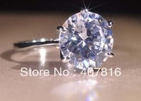 free shipping  18K plating platinum six mosaic Swiss drilling 4 Carat large Dimond CZ Ring dove eggs female