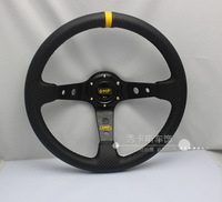 OMP carbon fiber PVC steering wheel steering wheel modified car racing steering wheel 14-inch carbon lines