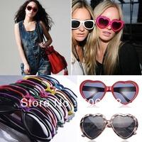 Wholesale 10pcs Mix Color New Fashion Retro Funny Summer Love Heart Shape Sunglasses Sun Glasses