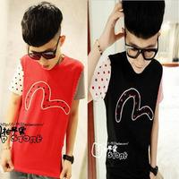 Free shipping 2013 men's clothing t-shirt polka dot stripe sleeve raglan short-sleeve male slim t-shirt