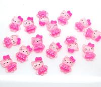 100 Resin Fuschia BowKnot Pink Hello Kitty Flatback Cabochon Scrapbooking