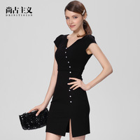 spring and summer women's elegant formal fashion short-sleeve ol slim one-piece dress black
