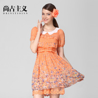 Summer new arrival  formal clothing peter pan collar lace layered dress slim waist print one-piece dress