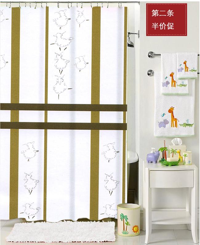 Espessamento impermeável cortina de chuveiro - cortina de chuveiro ovelhas 180 180 cm(China (Mainland))