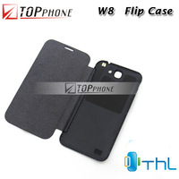 Free shipping Original PU Flip Leather case for THL W8 W8+ Quad core Android Phone Cover protector case Of THL Brand H