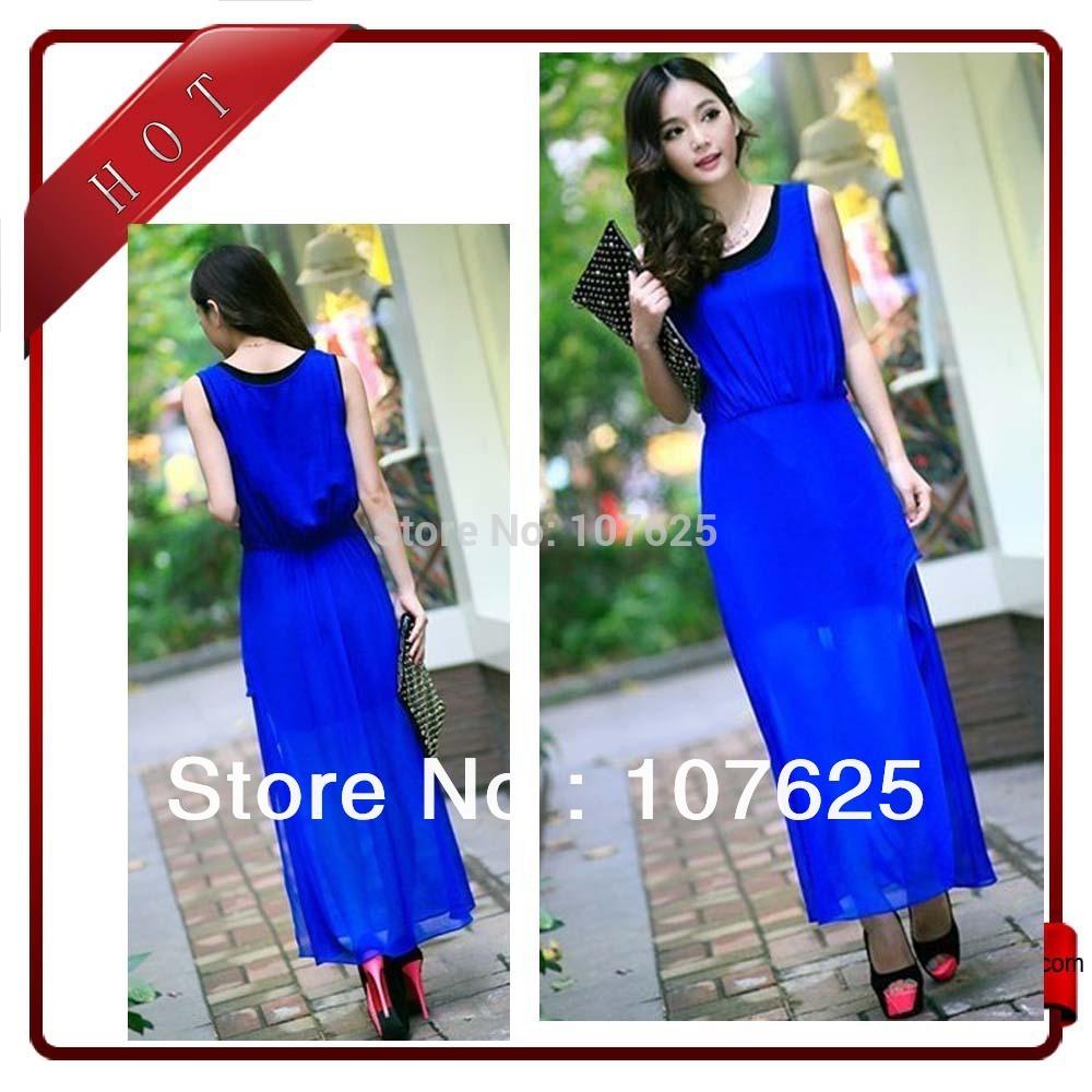 fashion new style women's Irregular Chiffon long dress graceful beach dresse with S,M,L size free shipping(China (Mainland))