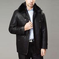 Leather clothing 2013 quinquagenarian fur coat detachable fur collar nick coat leather clothing male genuine leather