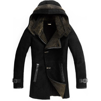 Fashion fur sheepskin wool one piece medium-long with a hood male genuine leather clothing leather overcoat 932