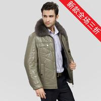 Blue fox fur collar sheepskin leather clothing male genuine leather male fur outerwear male
