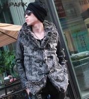 J-park2013 spring male PU imitation mink medium-long overcoat slim outerwear with a hood