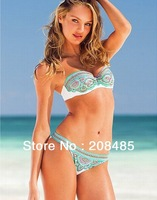 2013 Newest Super vintage Sexy VS woman Steel Push Up Cup Indian Flower print pattern Shoulder strap swimsuit beachwear set Lady