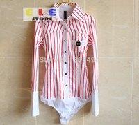 2014 women fashion OL designer tops turn down collar Striped slim fit long sleeve formal business body shirts,LH9503