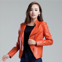 Free shipping 2013 Korean version of the new fall and winter clothes women's genuine leather jacket  short  Slim small leather