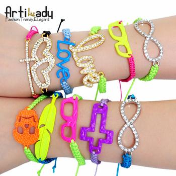 Artilady 2014 fashion wrap friendship stretch bracelet set stacking bracelets for women candy neon color jewelry 100styles