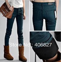 2014 winter thickening plus velvet elastic mid waist jeans trousers female trousers pencil pants boot cut jeans P01