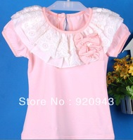 Lace collar girl T-shirt double bow Tong short-sleeved T-shirt wholesale sale free shipping