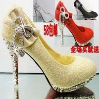 2013 rhinestone gold  red sole  bridal wedding shoes