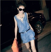 New Fashion Woman Large Size Loose Denim Jumpsuits 2014 Summer Denim Overalls With Jean Shorts Women Plus Size S M L