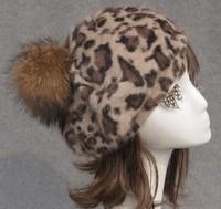 Autumn and winter rabbit fur hat raccoon fur ball women's gentlewomen painter cap leopard print beret