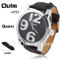 Oulm Black Leather Watch for Men with Numeral-6/9/12 Indicate Time Round Dial