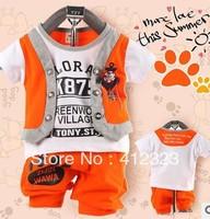 free shipping 3 set/lot baby children clothing sport set track suit t shirt short pant trouses