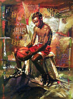 African oil painting  on canvas, handmade oil painting,gift art , sport  painting ,boy with basketball wall art artwork