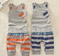 Free shipping summer children clothing sets boy girl stripe vest+haren pants children suits cotton kids sets boy girs clothes