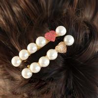 Pearl spring hair clip barrettes small peach heart 130604