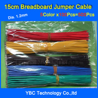 Free Shipping 500pcs 15cm Breadboard Jumper Cable Wires Tinned DIY Red/Black/Yellow/Green/Blue each Color 100pcs