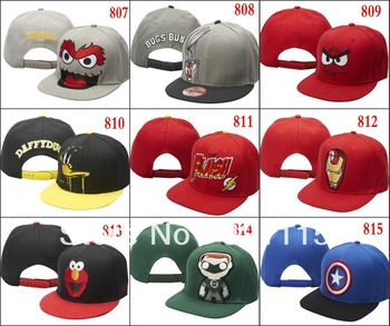 Ems free ship cartoon hip-hop snapbacks Rare Marvel Comics NY Swag Batman Blockhead spongebob shark mouth pikachu snapback hat