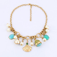 Min $20 (can mix) free shipping  fashion  diamond shell simulated-pearl pendant short design necklace