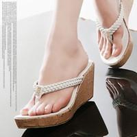 Fashion high heel sandals platform flip flops wedges female high-heeled slippers platform slippers