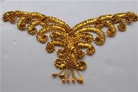 Gold Costume hair accessory handmade flower paillette beads cravat kidney gold and silver 33*10cm+3(tassel)