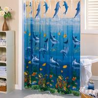 Transparent ocean wind pvc bathroom shower curtain thickening waterproof curtain