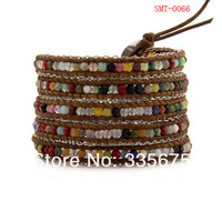 Free Shipping Retail ! Multi Wrap Bracelet with Chain on Natural Brown Leather STM-0066