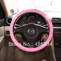 Free Shipping New Lovely Cute Hello Kitty Lovely Pink Steering Wheel Cover 38CM