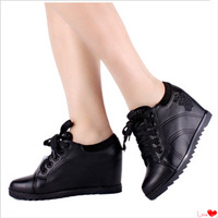 Sport shoes women's elevator shoes casual shoes 8cm high-heeled single shoes women's wedges spring and autumn