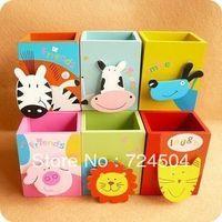 Freeshipping- 6pcs/lot Novelty wooden cartoon animal pen holder Cartoon pencil case holder with notes clip