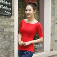 Slit neckline tight t-shirt half sleeve t-shirt sexy slit neckline fifth sleeve basic female short t shirt