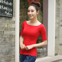 Slit neckline tight t-shirt half sleeve t-shirt sexy slit neckline fifth sleeve basic female short t shirt